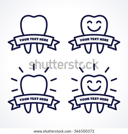 Vector teeth set. Teeth with ribbon, shining teeth, smiley teeth. Dark-blue linear tooth symbol, icon, logo. Place for your text - stock vector