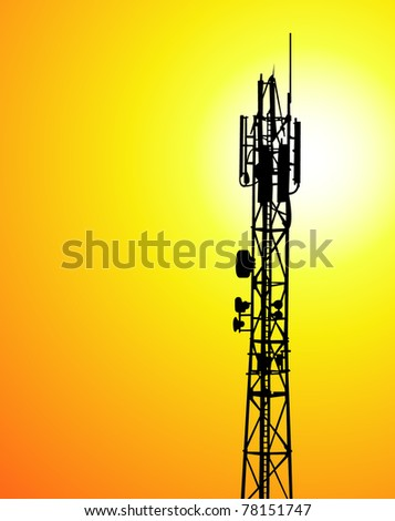vector telecommunications tower - stock vector