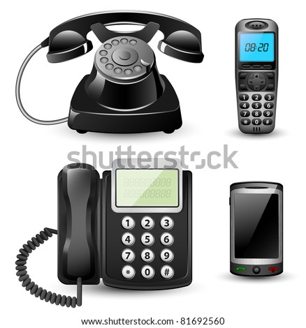 Vector telephone sets isolated on white background - stock vector
