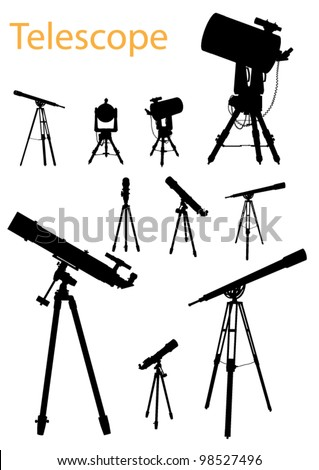 Vector Telescope Silhouette Set - stock vector