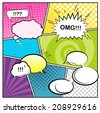 Vector template a typical comic book page with various speech bubbles, symbols and colored Halftone Backgrounds. - stock vector