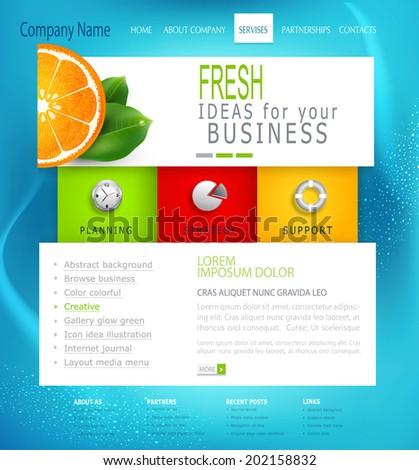 vector  template   business website - stock vector