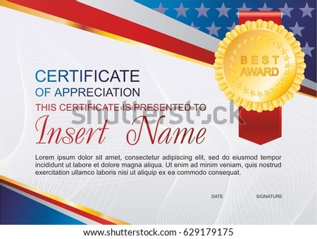 Vector Template Certificate Appreciation Colorful Stripy Stock ...