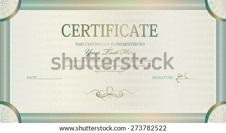 vector template certificate with beautiful curls frame