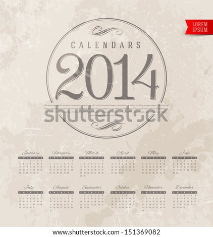 Vector template design - Decorative calendar of 2014 on a grunge vintage background - stock vector