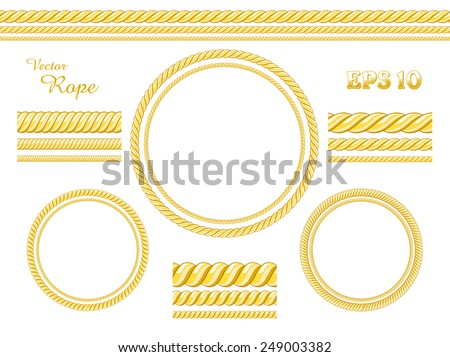 Vector template design elements. Set of different thickness seamless ropes and rope frame isolated on white. - stock vector