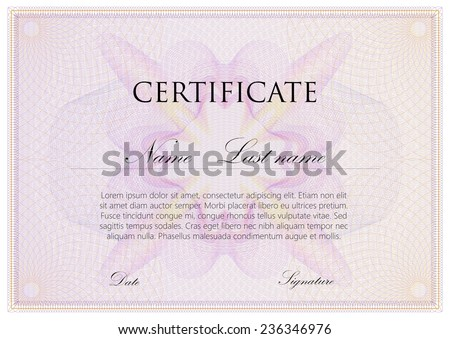 vector template design of certificate with guilloche pattern (watermarks) - stock vector