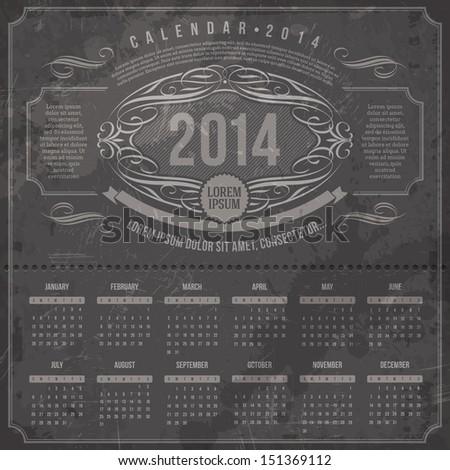 Vector template design - Ornate vintage calendar of 2014 on a grunge black background - stock vector