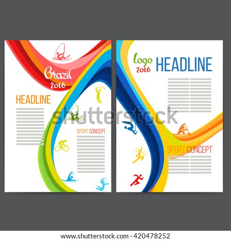 Vector template design strips of colored rings and waves.Concept sport brochure, Web sites,page,leaflet, logo Brazil 2016 and text separately. Sport banners with symbols of sports competitions. Rio. - stock vector