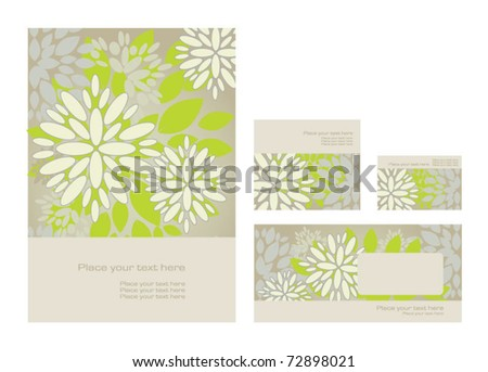 Vector template: folder, business card and invitation on floral background, eps10 - stock vector