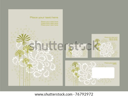 Vector template: folder, business card and invitation on floral background, eps10