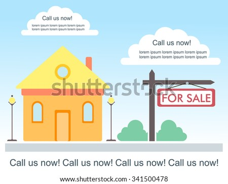 Vector Template For Advertisement About House For Sale Or For Rent. Cute  Country House With  House For Sale Sign Template