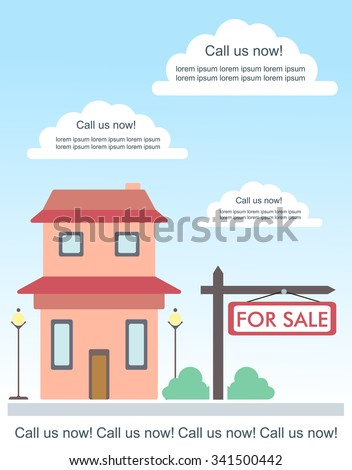 Vector Template For Advertisement About House For Sale Or For Rent. Cute  Two Storey Country  House For Sale Sign Template