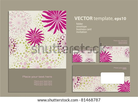 Vector template for business artworks: folder, business card and invitation on floral background - stock vector