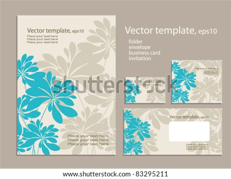 Vector template for business artworks: folder, business card and invitation on floral background . - stock vector