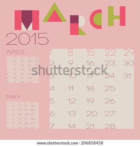 Vector Template 2015 Calendar Design March Stock Photo Photo