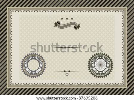 Vector template for coupon, diploma or certificate with seals and ornaments. Easy to change colors and edit - stock vector