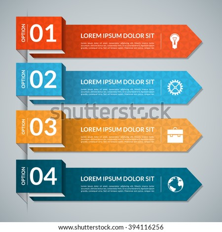 Vector template for infographics. Infographic banner with business icons and design elements. 4 steps parts, options. Can be used for web, chart, graph, diagram, presentation, report, workflow layout - stock vector