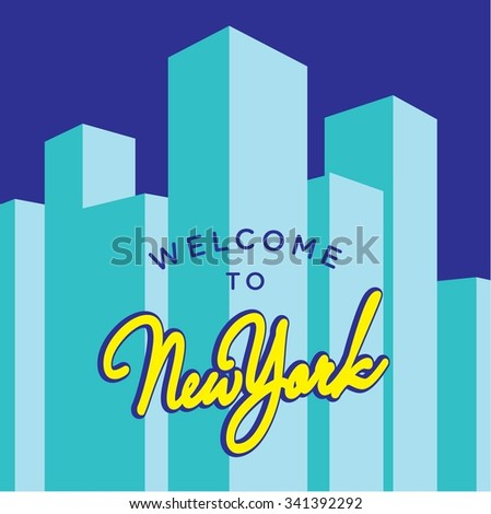 Vector Template for New York City Postcard or Invitation - stock vector