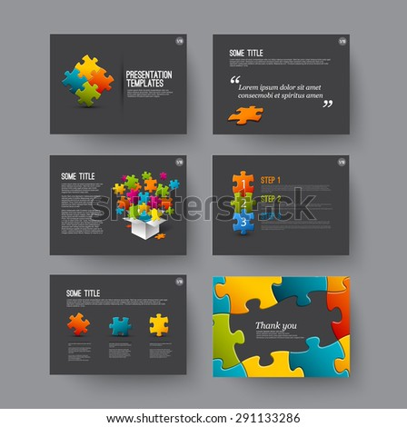 Vector Template for presentation slides with puzzle pieces and colorful elements - dark version - stock vector