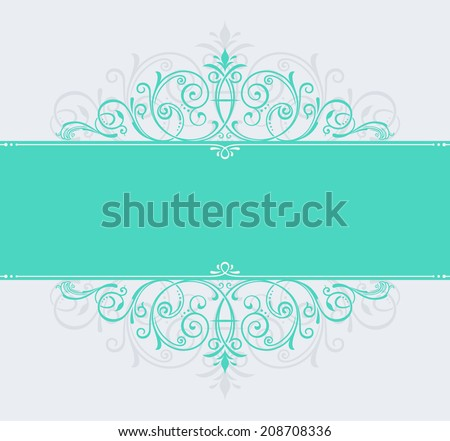 vector template for text. vintage frame decorated with antique ornaments green - stock vector
