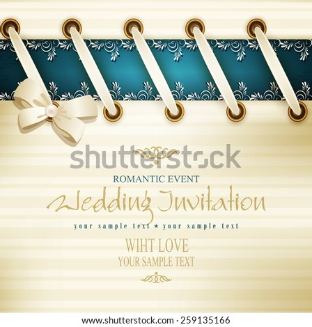vector template for wedding background with lace, satin ribbon and lacing  - stock vector