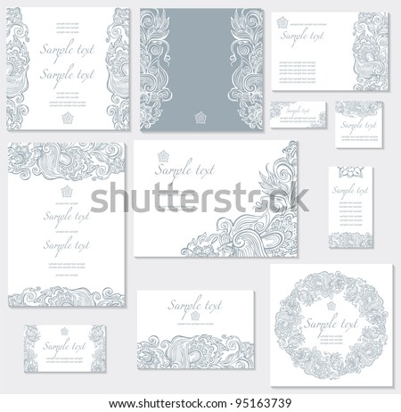 Vector template for wedding cards - stock vector