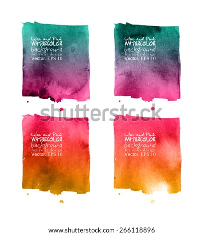 Vector template for your design. Vector hand drawn  watercolor background,vector illustration. Watercolor composition for scrapbook elements. - stock vector