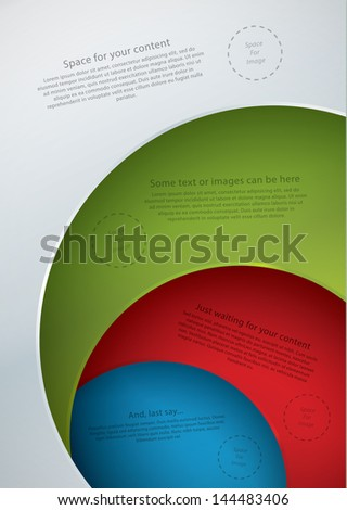 Vector template in modern design. Four plates in different colors with space for your text. Can be use as info graphic for your presentation or poster. Place for your text and images. - stock vector