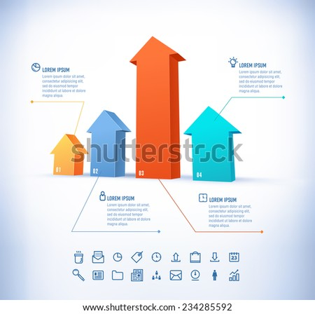 Vector template in modern style. For infographic and presentation. 4 arrow - stock vector