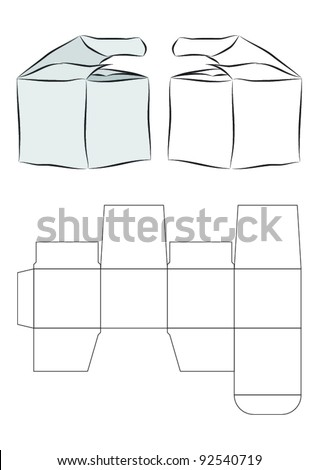 Vector template of a box (needs glue to assemble) - stock vector