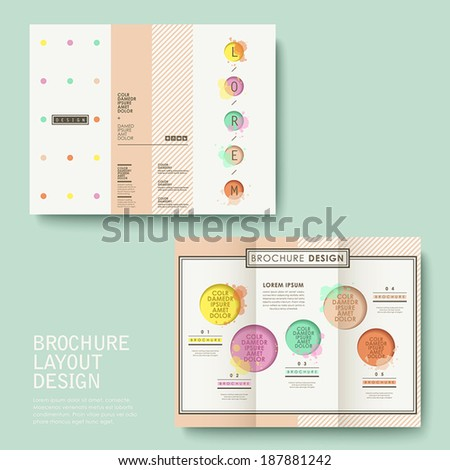 vector template of brochure design with watercolor style - stock vector