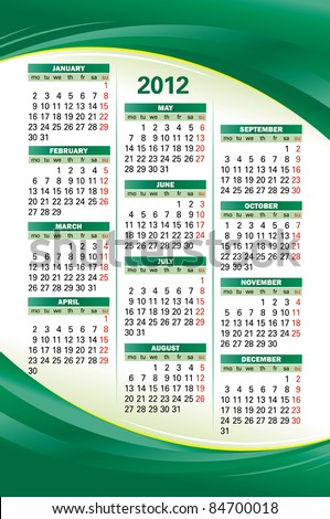 Vector template of 2012 calendar on green background - stock vector