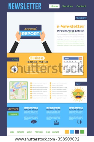 Vector Template of e-Newsletter Flat Design  - stock vector
