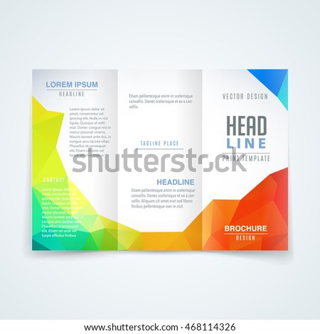 Vector template of flyer brochure in modern style of triangle background