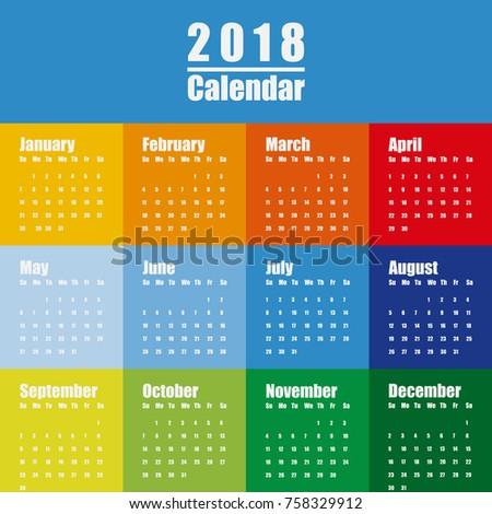 Vector Template 2018 New Year Calendar Stock Vector 758329912