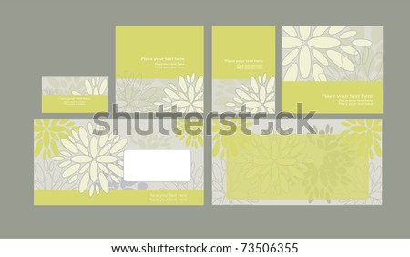 Vector template on floral background: envelope, business card and invitation on floral background, eps10 - stock vector