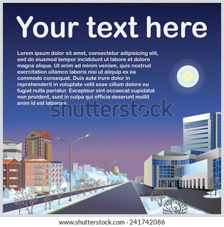 Vector template or  illustration of a winter cityscape. Buildings along the road on winter street against the sky. - stock vector