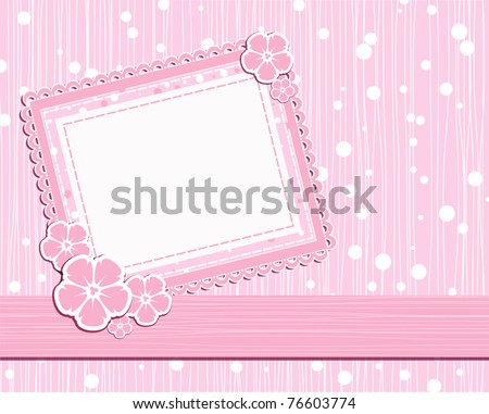 vector template photo card for scrapbook - stock vector