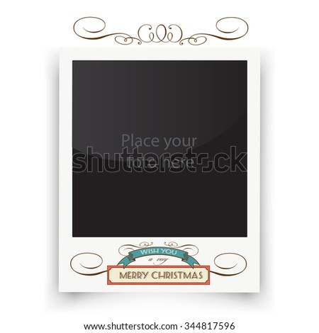 Vector template photo frames Polaroid. Christmas greeting with place for your photo. Retro illustration - stock vector