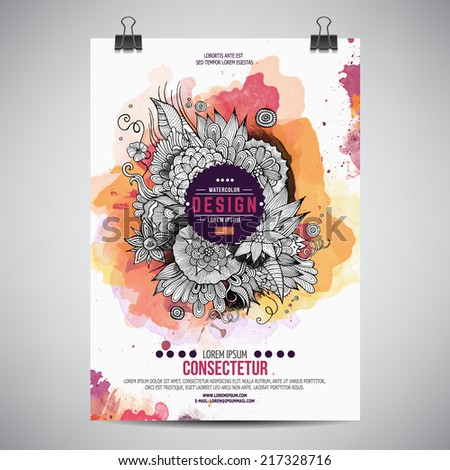 Vector template poster with watercolor paint floral abstract background - stock vector
