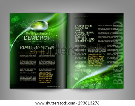 vector template print edition of the magazine with dew drop - stock vector
