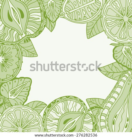 Vector template with different fruits. Background frame for design - stock vector
