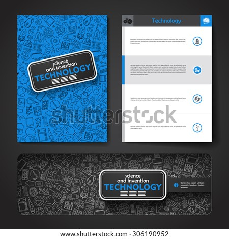 Vector template with hand drawn doodles Technology theme. Target marketing concept. - stock vector