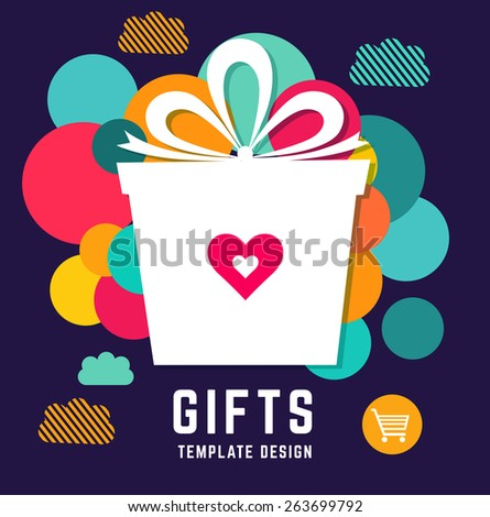 Vector template with holiday gift - stock vector