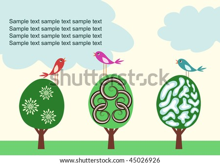 Vector template with stylized cute trees and birds - stock vector