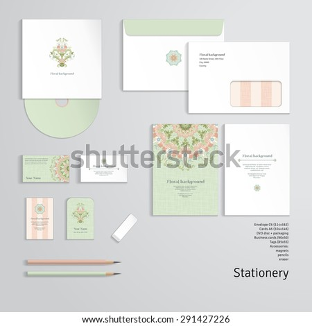 Vector templates. Beautiful floral pattern in vintage style and and delicate canvas texture. Envelope, cards, business cards, tags, disc with packaging, pencils, eraser. - stock vector