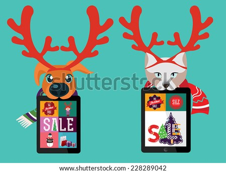 Vector templates. Beautiful inscription - Winter is coming. Pets holding tablet computer. Christmas sale. - stock vector