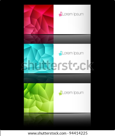 Vector templates for business cards or advertising message. Blank graphic colorful pages - stock vector