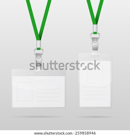 Vector templates for name tag with green lanyards. Vector EPS10 illustration.  - stock vector